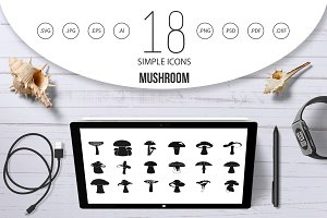 Mushroom icon set, simple style
