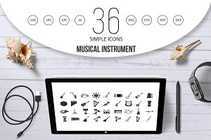 Musical instrument icon set, simple
