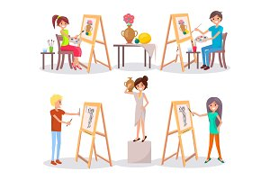 Students Draw and Paint Isolated