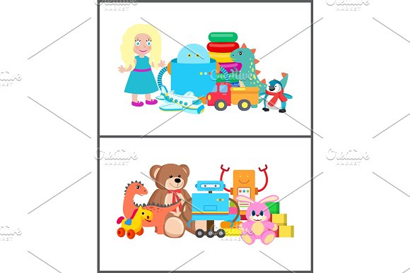 Cubes and Bunny Collection Vector