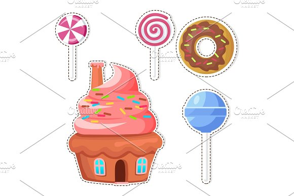Cartoon Sweets Vector Stickers or in Objects