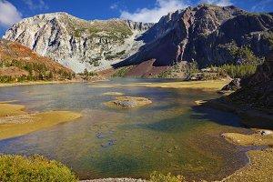The shallow lake on pass Tioga