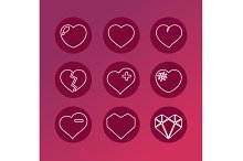 Vector set of love signs. 9 Hearts