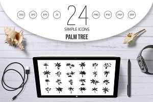 Palm tree icon set, simple style