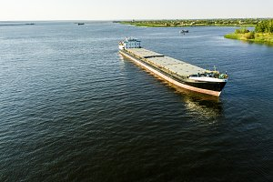 aerial view of large freighter shipp
