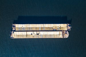 aerial view shipping cargo with cont