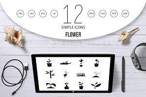 Plant icon set, simple style