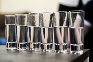 row of glasses for vodka shot