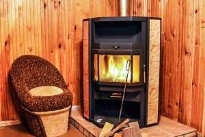 Warm fireplace with real wood