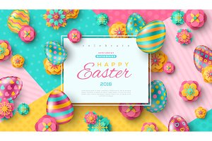 Easter card with ornate eggs