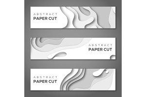 Horizontal banner white paper cut