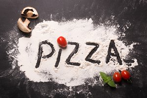 Pizza concept. Lettering. Word Pizza