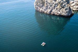 aerial view of small cruise catamara
