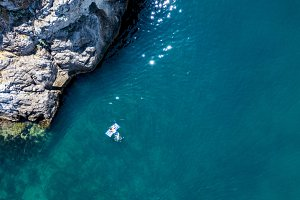 directly above view of man swimming