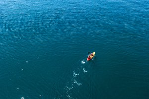 aerial kayak boat canoe on the water