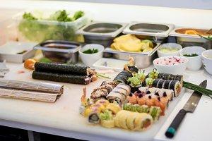 Sushi making process