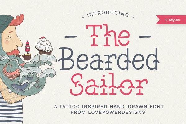 Fonts: LovePowerDesigns - The Bearded Sailor - Tattoo Font