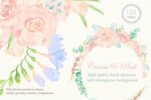 Watercolor Wedding Floral Ornaments