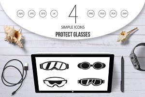 Protect glasses icon set, simple