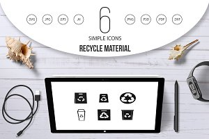 Recycle material icon set, simple
