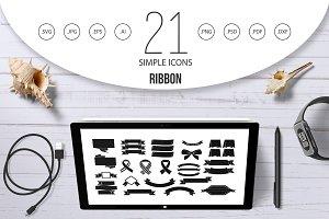 Ribbon icon set, simple style