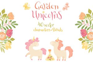 Unicorns and Florals Vector Set