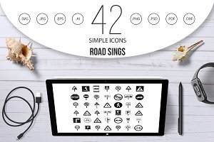 Road sings icon set, simple style