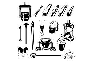 Metallurgical symbols set.
