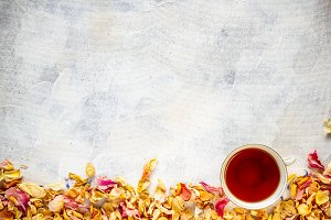 Rose petals and cup of tea