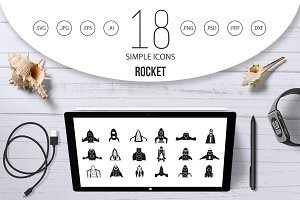 Rocket icon set, simple style