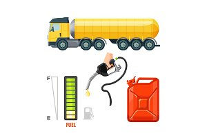 Fuel truck icons, gasoline equipment