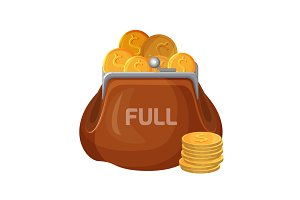 Brown leather wallet icon full of