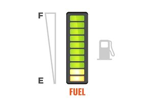 Fuel gauge in tank of car icon. From