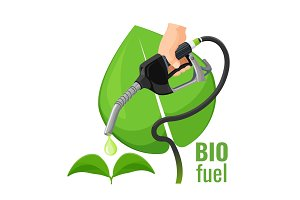 Biofuel concept emblem, template for
