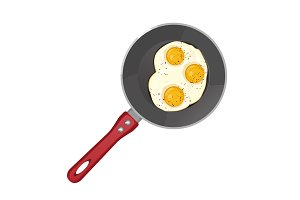 Fried eggs on frying pan isolated on