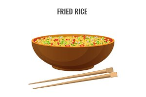 Fried rice bowl and chopsticks side