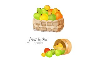 Straw wicker basket with ripe and