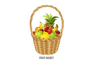 Large straw wicker basket with