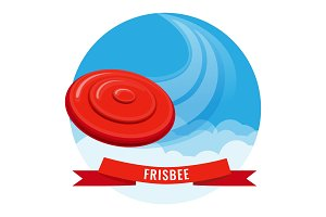 Flying disk red frisbee on blue sky