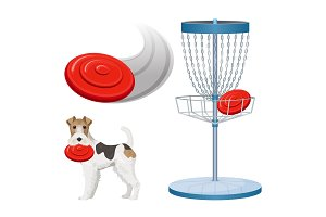 Frisbee golf game color vector