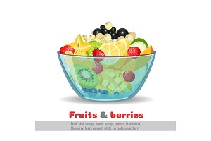 Juicy fruit salad glass bowl poster