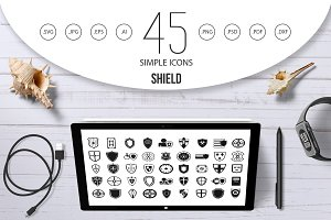 Shield icon set, simple style
