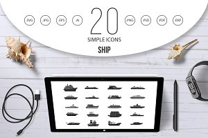 Ship icon set, simple style
