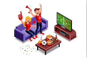 Football Fans Watching Tv