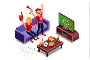 Football Fans Watching Tv