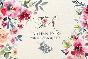 Garden Rose Watercolor Floral Kit
