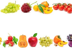 Wide frame ripe vegetables, fruits a
