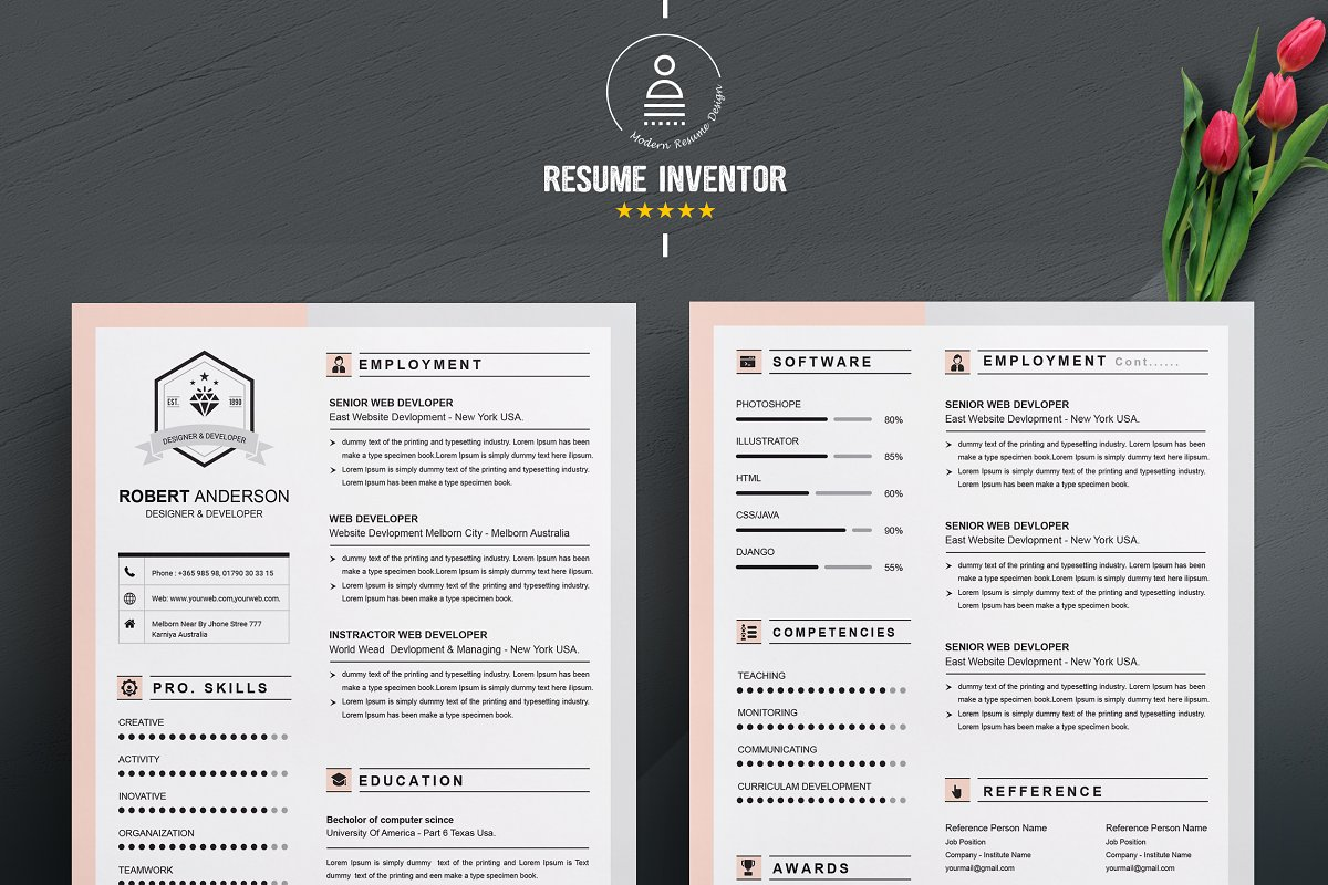 Resume Template Apple Pages Resume Templates Creative Market