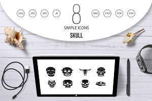 Skull icon set, simple style
