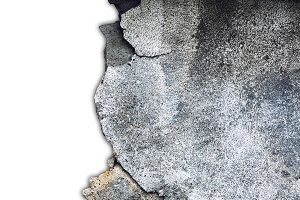 Damaged concrete grey wall on a whit